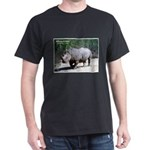 White Rhino Rhinoceros Photo (Front) Black T-Shirt