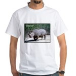 White Rhino Rhinoceros Photo (Front) White T-Shirt