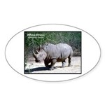 White Rhino Rhinoceros Photo Oval Sticker