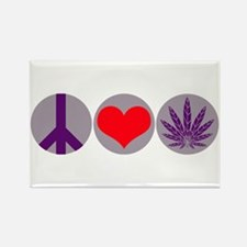 Peace Love Purple Leaf Rectangle Magnet