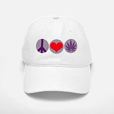 Peace Love Purple Leaf Baseball Baseball Cap
