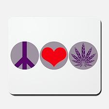 Peace Love Purple Leaf Mousepad