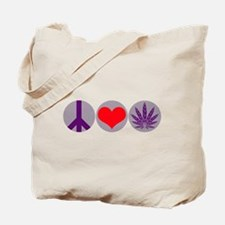 Peace Love Purple Leaf Tote Bag
