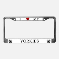 White I Love My Yorkies Frame