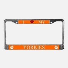 Orange I Love My Yorkies Frame