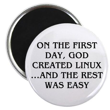 "God created Linux 2.25"" Magnet (100 pack)"