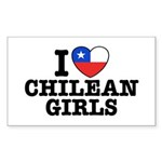 I Love Chilean Girls Sticker (Rectangle)