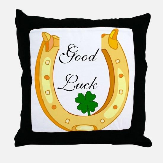 Good Luck Horseshoe Throw Pillow