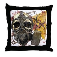 Gasmask Skull Apocolypse Throw Pillow