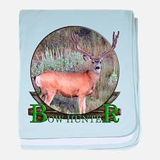 bow hunter, trophy buck baby blanket
