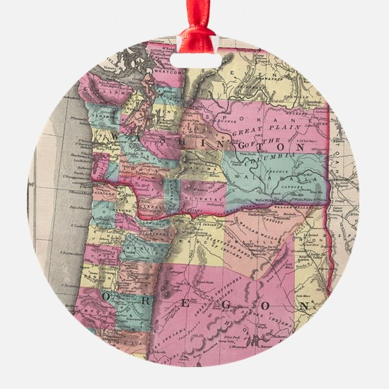 Vintage Map of Washington and Orego Ornament