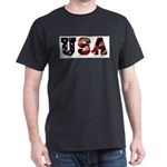 USA Flag Black T-Shirt