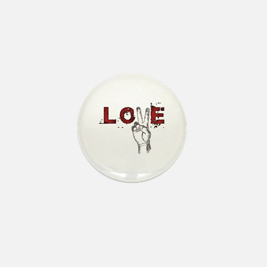 Love Peace V Mini Button