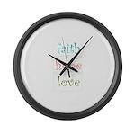 Faith Hope Love Large Wall Clock