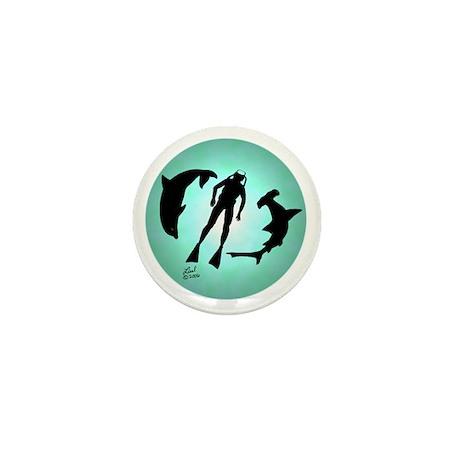 SCUBA Diver Mini Button
