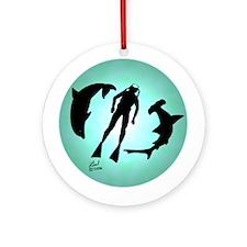 SCUBA Diver Ornament (Round)