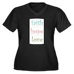 Faith Hope Love Women's Plus Size V-Neck Dark T-Sh