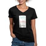 Faith Hope Love Women's V-Neck Dark T-Shirt