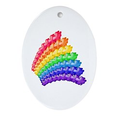 4-leaf Clovers and Rainbows Oval Ornament