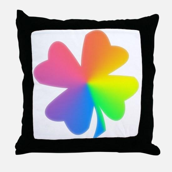 Rainbow Clover Throw Pillow