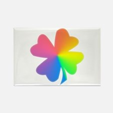 Rainbow Clover Rectangle Magnet