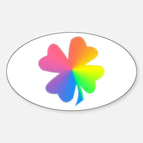 Rainbow Clover Oval Decal