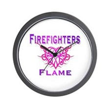 Cute Firefighters girlfriend Wall Clock