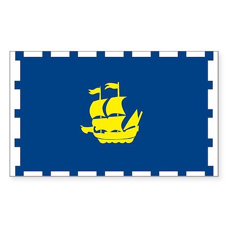 Quebec City Flag Rectangle Sticker