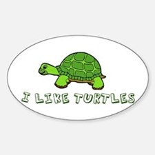 I Like Turtles Sticker (Oval)