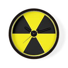 Yellow Radiation Symbol Wall Clock