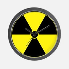 Yellow Radiation Symbol Wall Clock