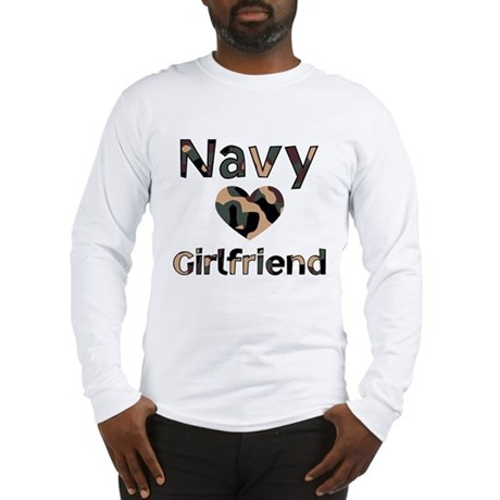 Navy Girlfriend Heart Camo Long Sleeve T-Shirt