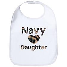 Navy Daughter Heart Camo Bib