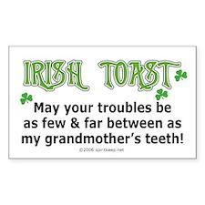 Irish Toast - Grandma's Teeth Sticker (Rectangular