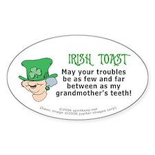 Irish Toast - Grandma's Teeth Oval Decal