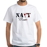 Navy mom Mens White T-shirts