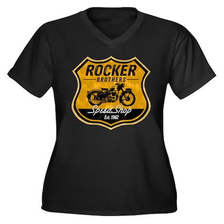 Vintage Cafe Racer Women's Plus Size V-Neck Dark T