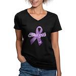 Strength Pancreatic Cancer Women's V-Neck Dark T-S