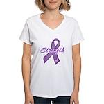 Strength Pancreatic Cancer Women's V-Neck T-Shirt