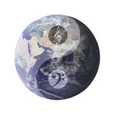 Gino Foti Yin Yang Earth With Music Clefs Button
