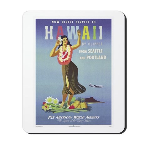 'Hawaii By Clipper' Panam Poster Mousepad