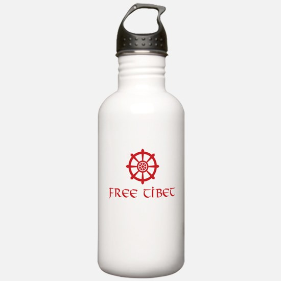Dharma Wheel Free Tibet Water Bottle