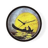 Canoe hawaiian ocean Wall Clocks