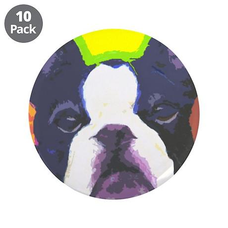 "Black & White French Bulldog 3.5"" Button (10 pack)"