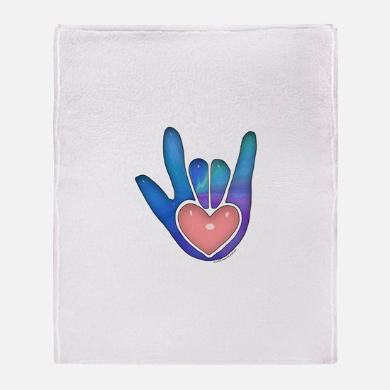 Blue/Pink Glass ILY Hand Throw Blanket
