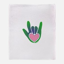 Green/Pink Heart ILY Hand Throw Blanket