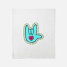 Aqua Bold Love Hand Throw Blanket