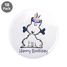 """Dog Birthday 3.5"""" Button (10 pack)"""
