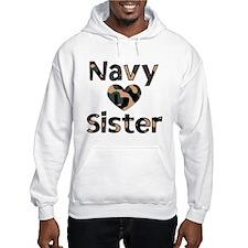 Navy Sister Heart Camo Hoodie