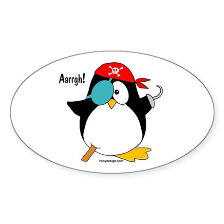 Pirate Penguin Sticker (Oval 50 pk)